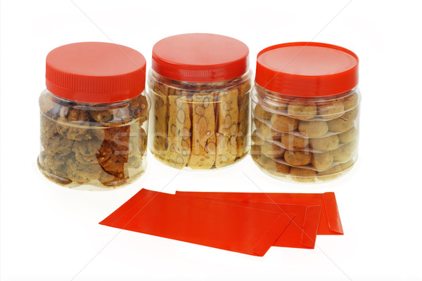 Stock photo: Chinese New Year cookies and red packets