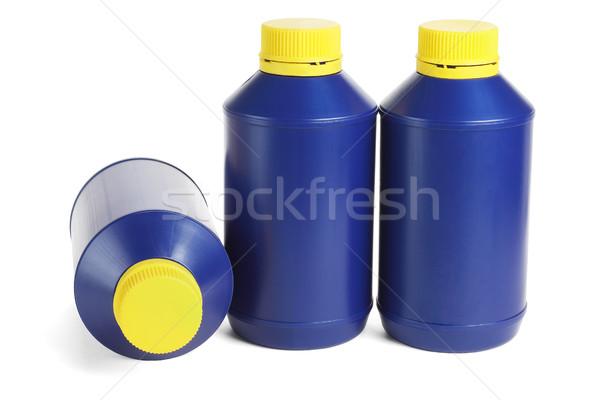 три синий пластиковых промышленности нефть бутылку Сток-фото © dezign56