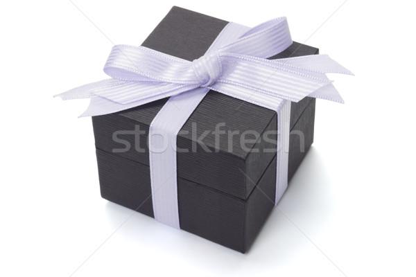 Black gift box with bow ribbon Stock photo © dezign56