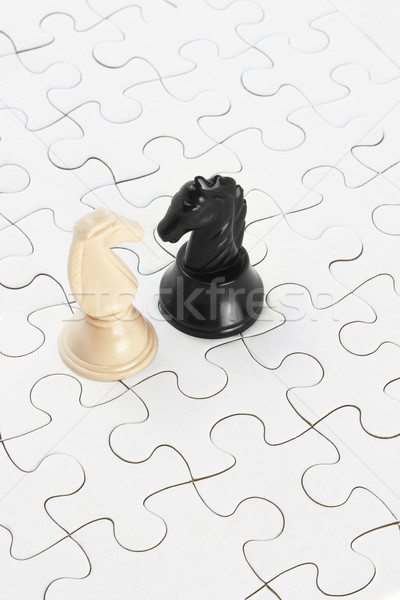 White and black knights and jigsaw puzzles Stock photo © dezign56