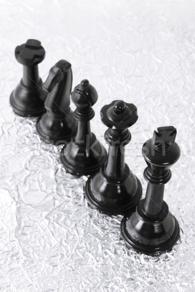 Fekete sakkfigurák ezüst fémes textúra csoport Stock fotó © dezign56