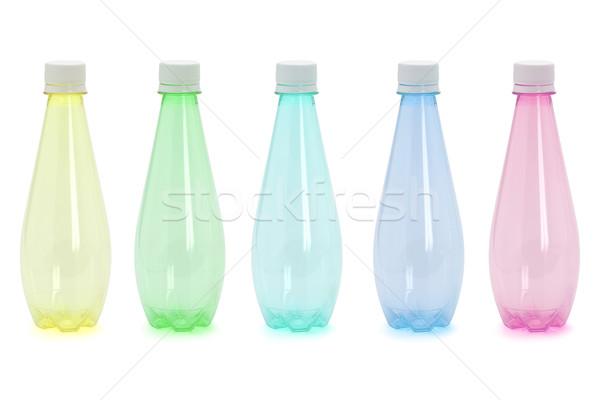 öt színes műanyag üvegek csoport konténer Stock fotó © dezign56