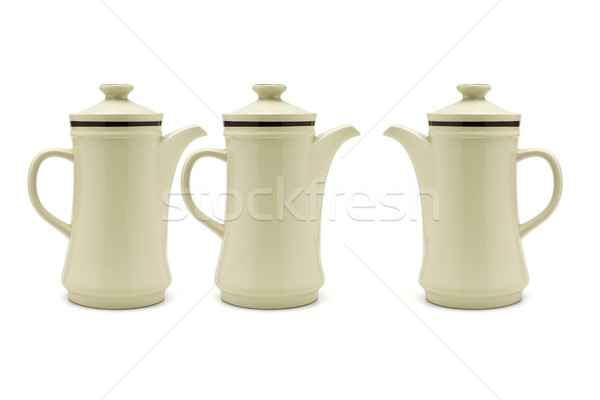 Drie porselein koffie drinken thee moderne Stockfoto © dezign56