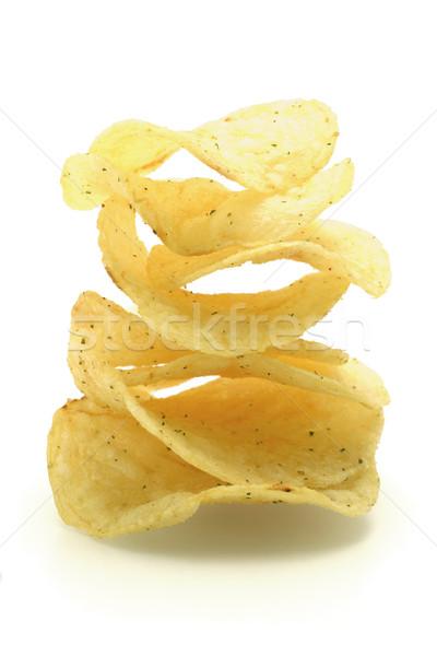 Gekruid chips vorm knapperig witte Stockfoto © dezign56