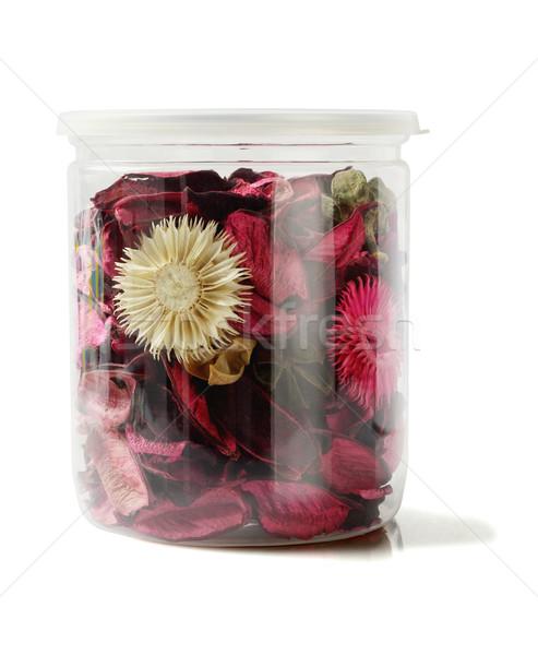 Színes műanyag tároló fehér virág textúra zöld Stock fotó © dezign56