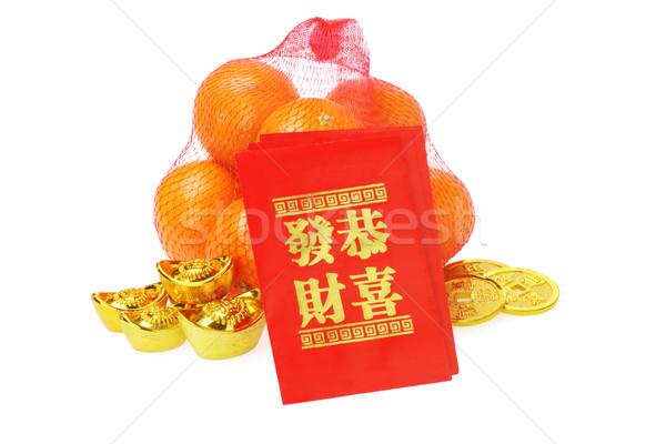 Kínai új év díszek narancsok fehér gyümölcs piros Stock fotó © dezign56