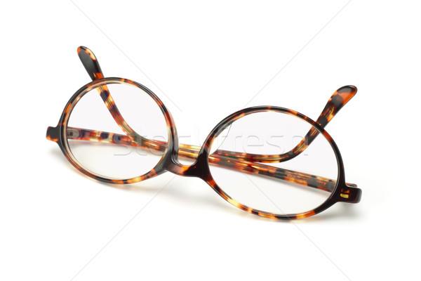 Stok fotoğraf: Eski · moda · plastik · çerçeve · gözlük · beyaz