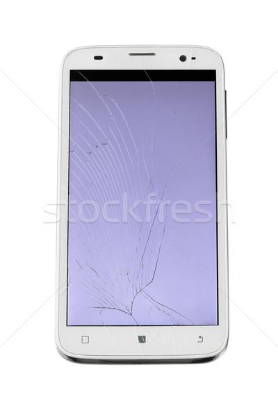 Törött képernyő okostelefon érintőképernyő fehér technológia Stock fotó © dezign56