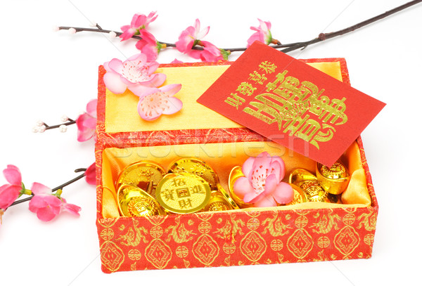 Chinese new year gift box, red packets and ornaments Stock photo © dezign56