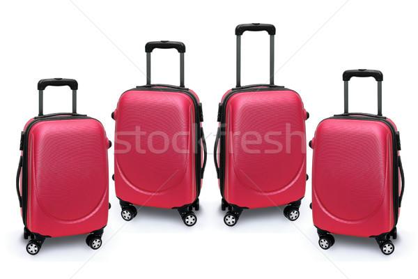 Bagaj çanta kırmızı beyaz grup çanta Stok fotoğraf © dezign56