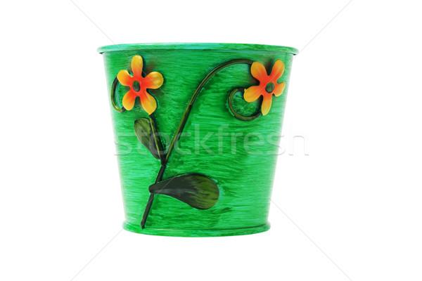 Decoratief metaal bloempot witte groene plant Stockfoto © dezign56