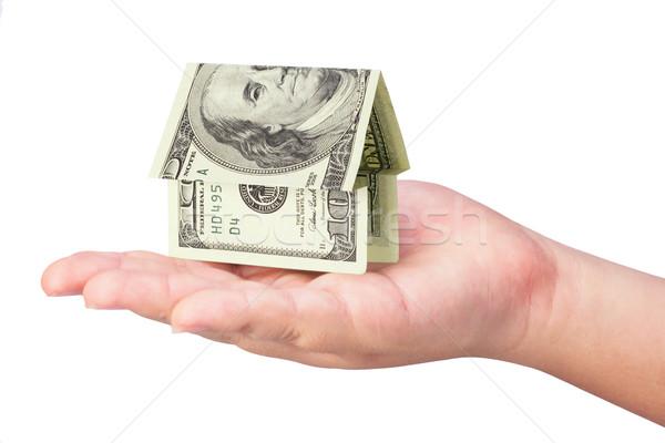 дети стороны деньги дома белый Сток-фото © dezign56