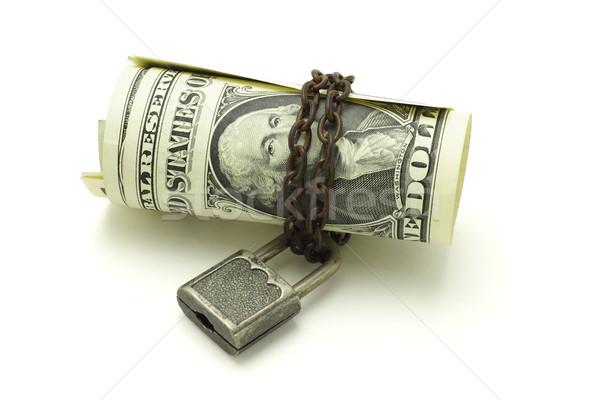 Dollár jegyzetek zárolt széf biztonságos fehér Stock fotó © dezign56