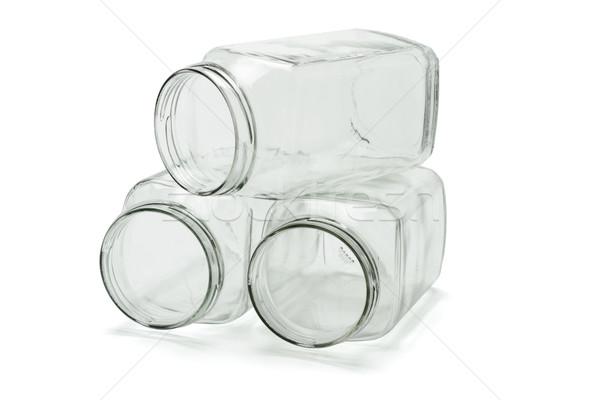 Három üveg nyitva egymásra pakolva fehér csoport Stock fotó © dezign56