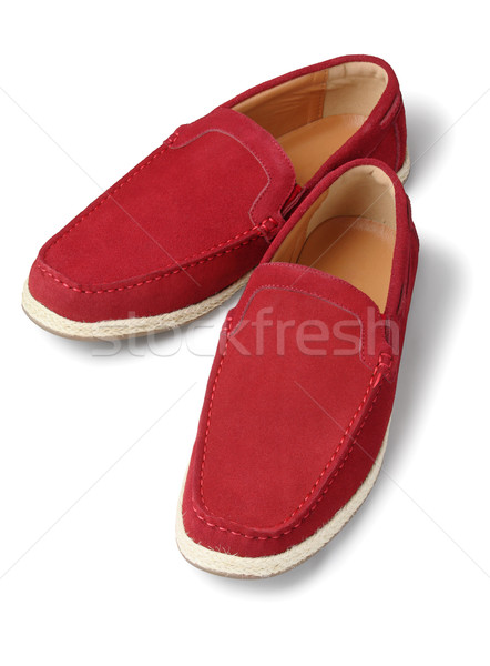 Piros lezser cipők bőr fehér divat Stock fotó © dezign56