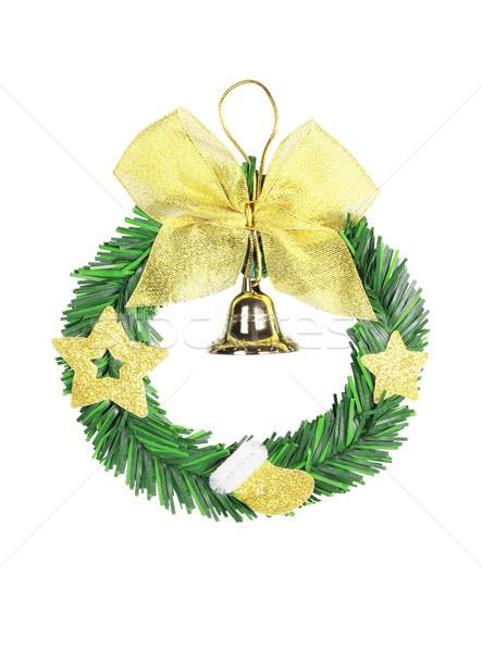 Egyszerű karácsony koszorú műanyag fehér zöld Stock fotó © dezign56