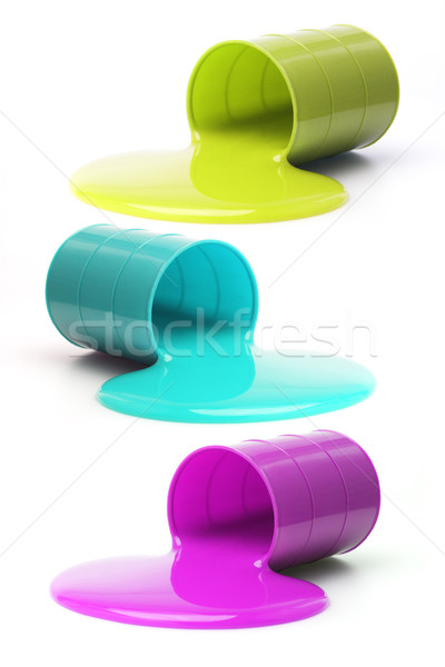 Colored slime flowing out from fallen drums Stock photo © dezign56