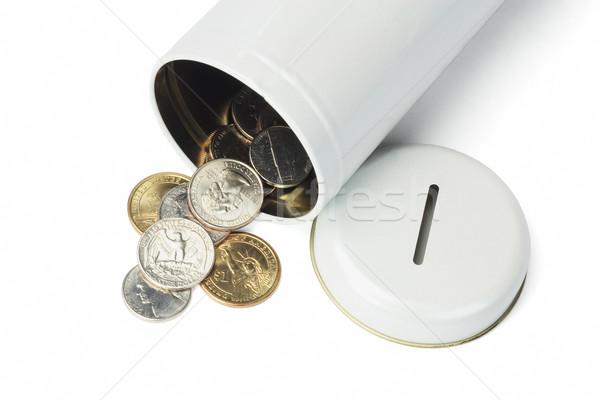 Münzen tin kann heraus öffnen weiß Stock foto © dezign56