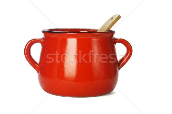 Rosso argilla pot legno mestolo bianco Foto d'archivio © dezign56