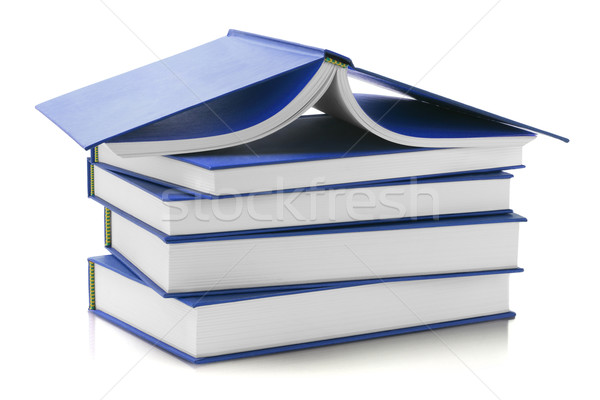 青 カバー 図書 スタック 白 紙 ストックフォト © dezign56