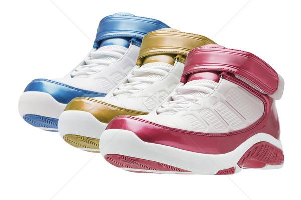Rij kleurrijk basketbal trainers witte achtergrond Stockfoto © dezign56
