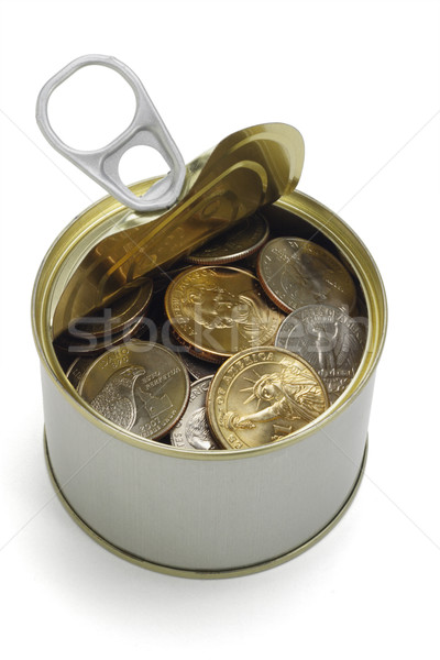 US coins in open tin can Stock photo © dezign56
