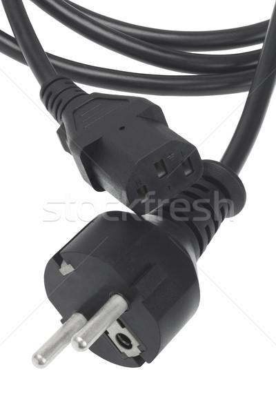 Preto poder cabo plugue soquete branco Foto stock © dezign56