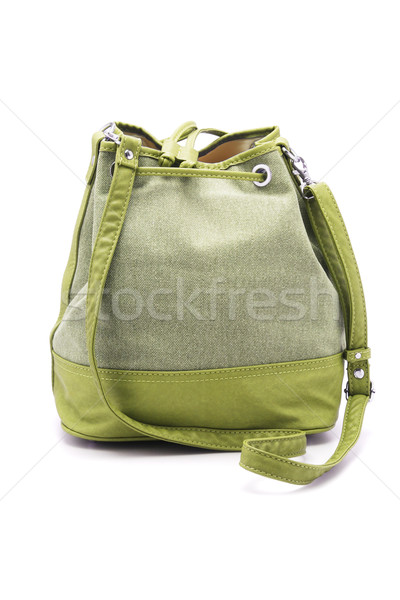 Csúzli táska zöld hölgy fehér nő Stock fotó © dezign56