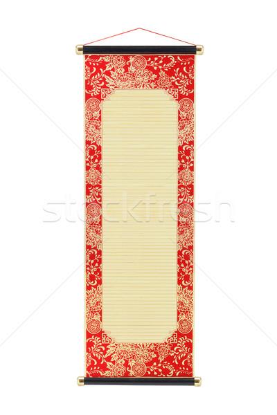 Stock fotó: Kínai · bambusz · tekercs · virágmintás · terv · keret
