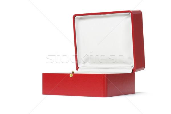üres piros ajándék doboz fehér szövet szín Stock fotó © dezign56
