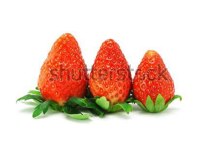 Three red juicy strawberries Stock photo © dezign56