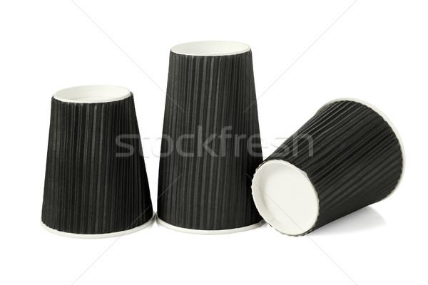 Három fekete papír csészék eldobható fehér Stock fotó © dezign56