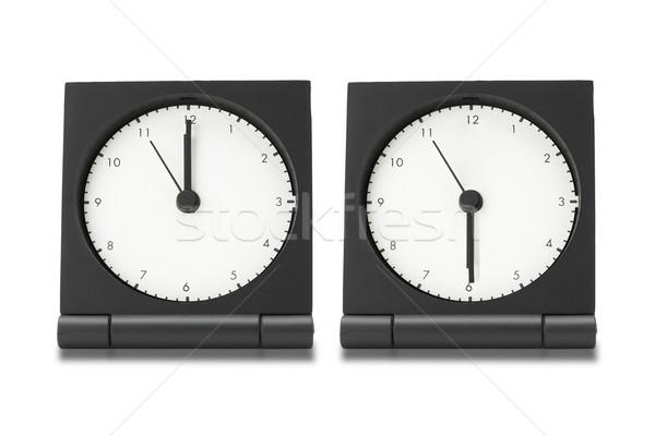 Eletrônico alarme relógios viajar branco cara Foto stock © dezign56