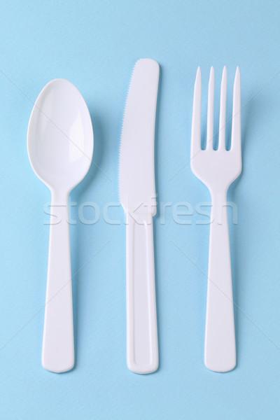 одноразовый пластиковых приборы вилка ложку ножом Сток-фото © dezign56