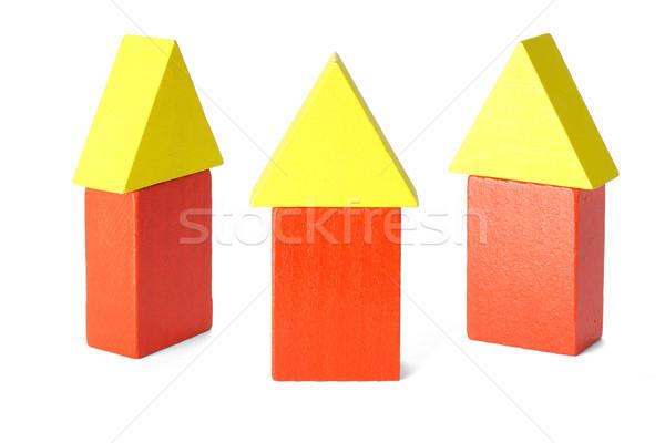 Three wooden block houses Stock photo © dezign56