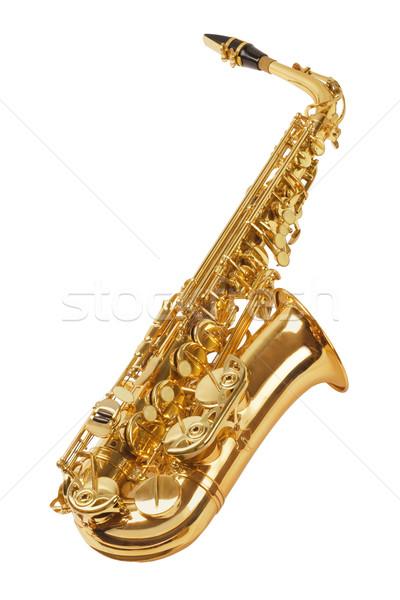 саксофон изолированный белый кнопки белом фоне Сток-фото © dezign56