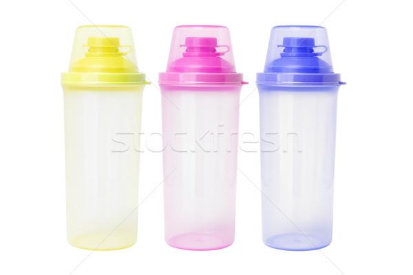 Сток-фото: пластиковых · три · пусто · воды · зеленый · синий