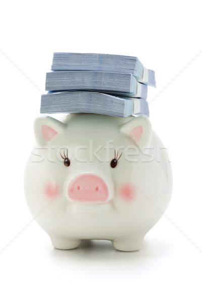 деньги назад Piggy Bank комбинированный белый бумаги Сток-фото © dezign56