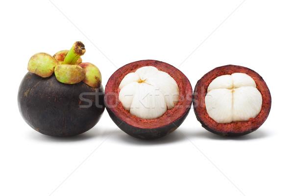 Мангостин плодов открытых свежие белый продовольствие Сток-фото © dezign56