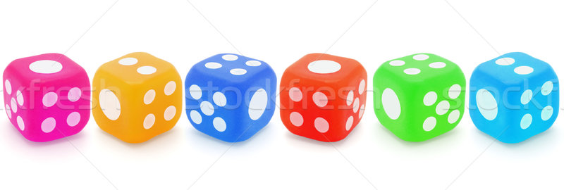 Colorful rubber dices Stock photo © dezign56