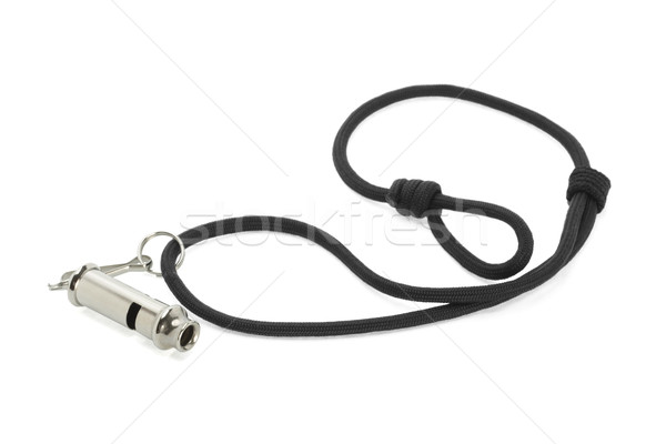 Metal whistle attached to black cord  Stock photo © dezign56