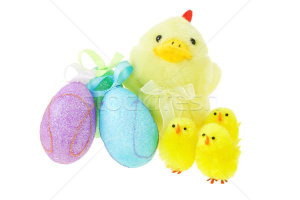 Húsvéti tojások citromsárga színes fehér tojás Stock fotó © dezign56