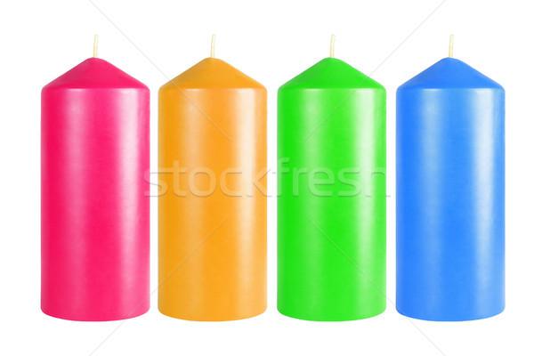 Decorativo colorido velas branco azul Foto stock © dezign56