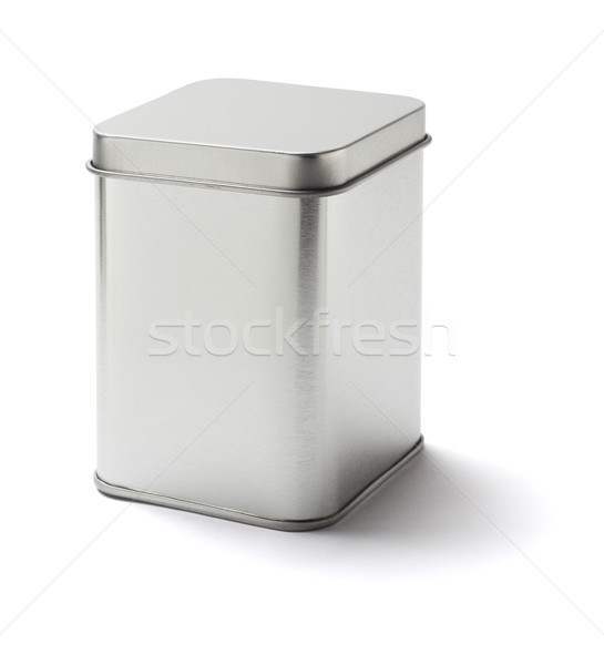 Vierkante tin kan metaal witte achtergrond Stockfoto © dezign56