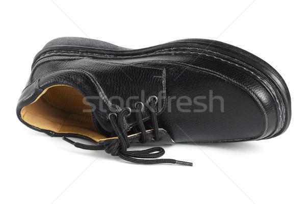 Fekete bőr cipő iroda textúra terv Stock fotó © dezign56