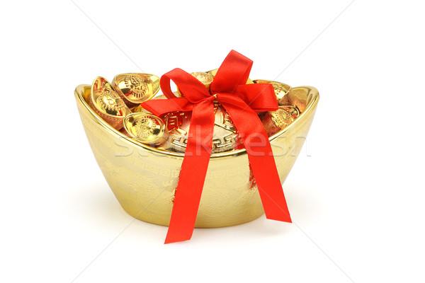 Altın dekoratif kırmızı yay şerit Stok fotoğraf © dezign56