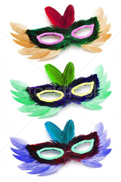 Három színes buli arc maszkok születésnap Stock fotó © dezign56