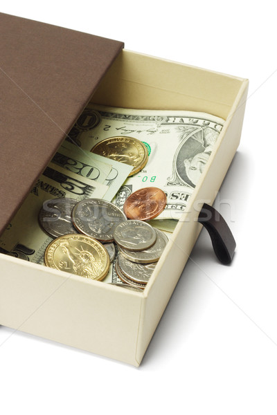 US dollar notes and coins in gift box  Stock photo © dezign56