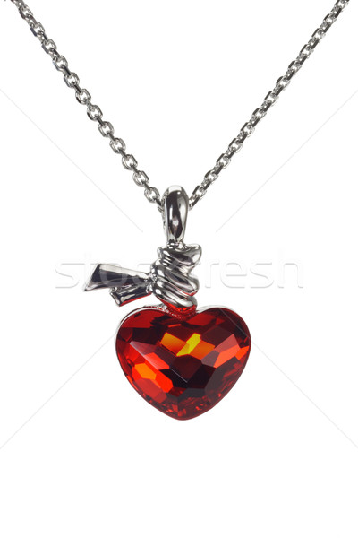 Red heart shaped gemstone necklace  Stock photo © dezign56