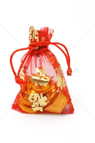 Altın madeni para kırmızı dekoratif Çin Stok fotoğraf © dezign56